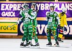 Stockholm 2013-12-03 Bandy Elitserien Hammarby IF - Ljusdals BK :  <br /> Hammarby David Pizzoni Elwing jublar med lagkamrater efter sitt 5-1 m&aring;l<br /> (Foto: Kenta J&ouml;nsson) Nyckelord:  jubel gl&auml;dje lycka glad happy