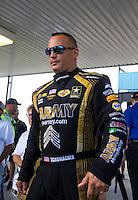 Oct 16, 2016; Ennis, TX, USA; NHRA top fuel driver Tony Schumacher during the Fall Nationals at Texas Motorplex. Mandatory Credit: Mark J. Rebilas-USA TODAY Sports