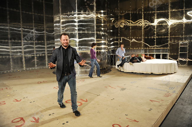 On the stage of the newly refurbished building of the historical Bolshoi theatre, the opera 'Ruslan and Ludmilla' is currently being rehearsed under the direction of Dmitry Chernyakov (l). Moscow, Russia, October 19, 2011