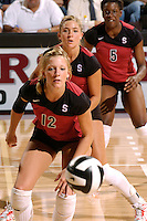 17 Sep 2005: Erin Waller, Bryn Kehoe and Njideka Nnamani during Stanford's 3-0 win over UCSB at Maples Pavilion in Stanford, CA.