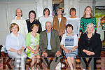St Brendans RC crew from the 1970's who were honoured at the Killarney  Regatta launch  in the Killarney Avenue Hotel on Thursday evening were l-r: Maureen O'Donoghue, Mary O'Neill, John O'Leary President, Mary Lynch representing George Lynch, Blanche O'Brien. Back row: Angela Barry, Yvonne Quill, Ann Clerkin, Patricia Lynch, Karen Bruton and Janet O'Sullivan rep Cynthia  O'Sullivan