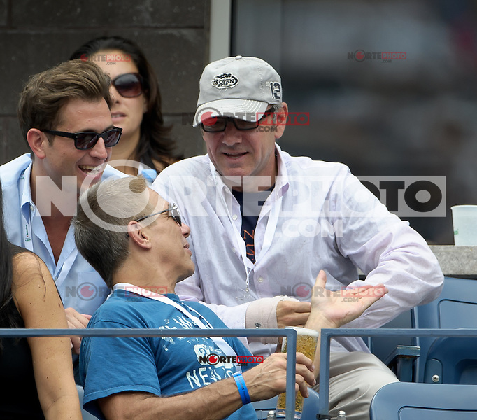 September 2, 2012: Actors Kevin Spacey (top-R) and Tony Danza (bottom) attend Day 7 of the 2012 U.S. Open Tennis Championships at the USTA Billie Jean King National Tennis Center in Flushing, Queens, New York, USA. Credit: mpi105/MediaPunch Inc. /NortePhoto.com<br />