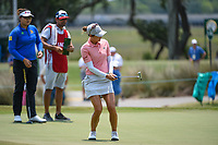 Azahara Munoz (ESP) reacts to barely missing her birdie putt on 9 during round 4 of the 2019 US Women's Open, Charleston Country Club, Charleston, South Carolina,  USA. 6/2/2019.<br /> Picture: Golffile | Ken Murray<br /> <br /> All photo usage must carry mandatory copyright credit (© Golffile | Ken Murray)