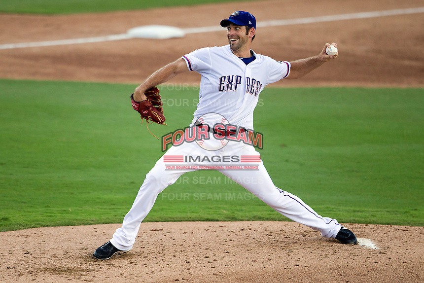 Round Rock Express pitcher Zach Jackson #47 delivers a pitch during the Pacific Coast League baseball game against the Nashville Sounds on August 26th, 2012 at the Dell Diamond in Round Rock, Texas. The Sounds defeated the Express 11-5. (Andrew Woolley/Four Seam Images).