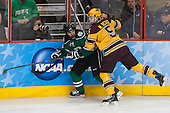 Rocco Grimaldi (North Dakota - 19), Mike Reilly (MN - 5) - The University of Minnesota Golden Gophers defeated the University of North Dakota 2-1 on Thursday, April 10, 2014, at the Wells Fargo Center in Philadelphia to advance to the Frozen Four final.
