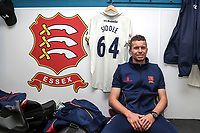 New Essex CCC signing Peter Siddle poses for a photograph in the dressing room at The Cloudfm County Ground on 12th April 2018