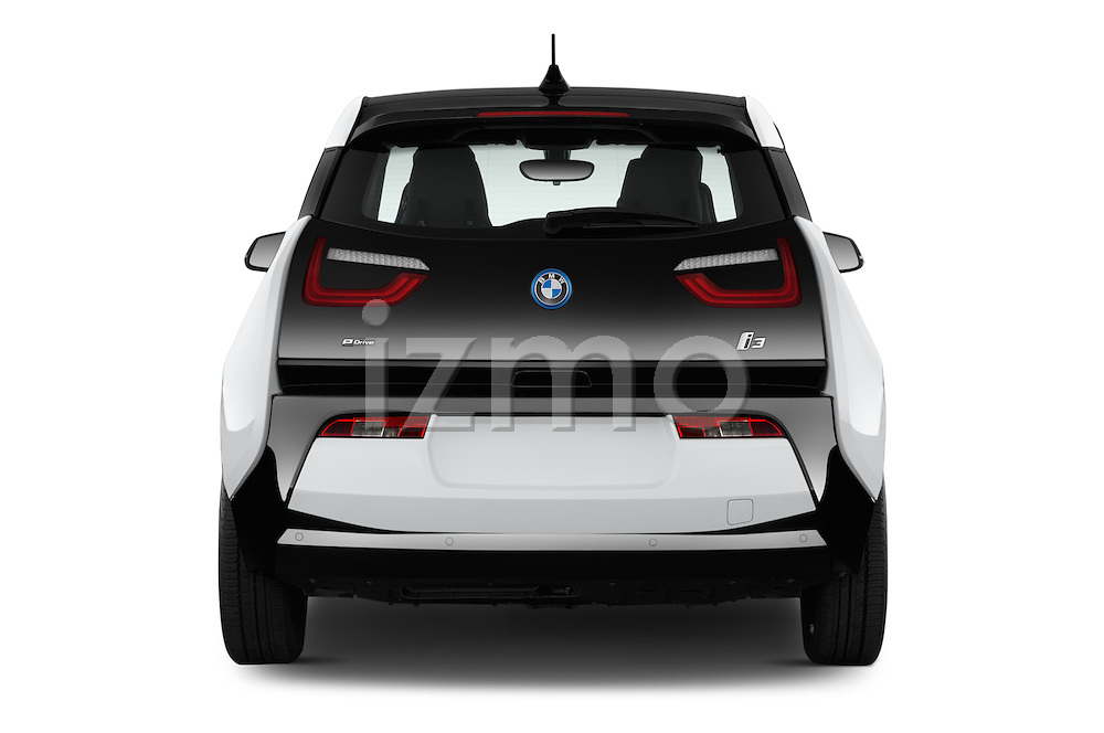 Straight rear view of 2017 BMW I3 Deka-World 5 Door Hatchback Rear View  stock images