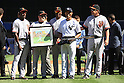 Mariano Rivera (Yankees),<br /> SEPTEMBER 22, 2013 - MLB :<br /> Mariano Rivera of the New York Yankees is presented with gifts including an electric guitar by former Yankees players and current Giants coaches Roberto Kelly, Joe Lefebvre, Hensley Meulens and Dave Righetti during his retirement ceremony before the Major League Baseball game against the San Francisco Giants at Yankee Stadium in The Bronx, New York, United States. (Photo by Thomas Anderson/AFLO) (JAPANESE NEWSPAPER OUT)