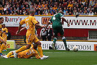Jean-Alain Boumson flicks the free kick on to score the opening goal in the Motherwell v Panathinaikos UEFA Champions League 3rd Qualifying Round 1st Leg match at Fir Park, Motherwell on 31.7.12.