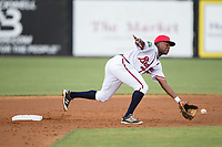 Danville Braves shortstop Nicholas Shumpert (1) reaches for a throw in front of second base during the game against the Elizabethton Twins at American Legion Post 325 Field on July 1, 2017 in Danville, Virginia.  The Twins defeated the Braves 7-4.  (Brian Westerholt/Four Seam Images)