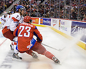 David Stich (Czech Republic - 7), Sergei Korostin (Russia - 23) - Russia defeated the Czech Republic 5-1 on Friday, January 2, 2009, at Scotiabank Place in Kanata (Ottawa), Ontario, during the 2009 World Junior Championship.