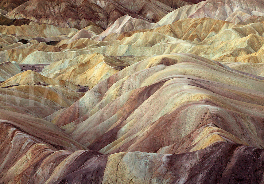Eroded bad lands of Golden Canyon, Death Valley National Park, Californi