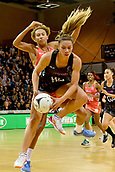 7th September 2017, Te Rauparaha Arena, Wellington, New Zealand; Taini Jamison Netball Trophy; New Zealand versus England;  Silver Ferns Grace Rasmussen takes a pass with Englands Serena Guthrie pressing