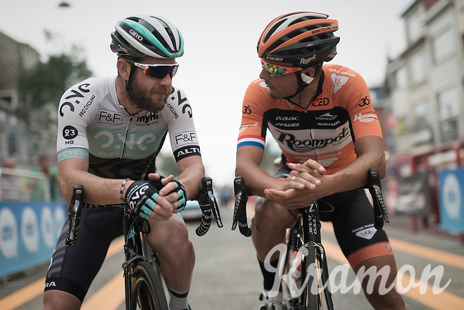 Matt(hew) Goss  (AUS/One Pro Cycling) & Johnny Hoogerland (NED/Roompot - Oranje Peloton) chatting before the start<br /> <br /> 91st Schaal Sels 2016