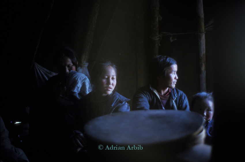 Inside  a Tsaatan family wigwam<br />