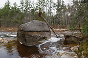 October 31, 2017 - Uprooted tree on a large boulder along the East Branch of the Pemigewasset River in the Pemigewasset Wilderness of New Hampshire after heavy rain and strong winds from an October 29-30, 2017 storm.