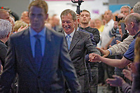 Pictured: Nigel Farage is greeted by party supporters as he walks to the stage. Tuesday 30 April 2019<br /> Re: Nigel Farage and Anne Widdecombe at the Brexit Party rally at The Neon in Clarence Place in Newport, south Wales, UK.
