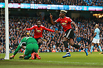 Paul Pogba of Manchester United celebrates scoring during the premier league match at the Etihad Stadium, Manchester. Picture date 7th April 2018. Picture credit should read: Simon Bellis/Sportimage