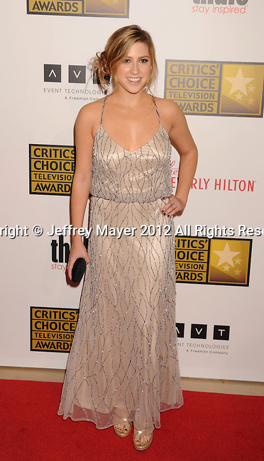 BEVERLY HILLS, CA - JUNE 18: Eden Sher  arrives at The Critics' Choice Television Awards at The Beverly Hilton Hotel on June 18, 2012 in Beverly Hills, California.
