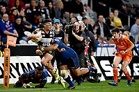 Action from the 2018 Mitre 10 Cup Championship rugby semifinal between Canterbury and Counties Manukau at Forsyth Barr Stadium in Dunedin, New Zealand on Saturday, 20 October 2018. Photo: Joe Allison / lintottphoto.co.nz