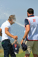 Joakim Lagergren (SWE) gets sprayed with champagne during the final round of the Rocco Forte Sicilian Open played at Verdura Resort, Agrigento, Sicily, Italy 13/05/2018.<br /> Picture: Golffile | Phil Inglis<br /> <br /> <br /> All photo usage must carry mandatory copyright credit (&copy; Golffile | Phil Inglis)