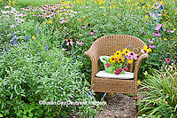 63821-206.05  Wicker chair with basket and birdhouse in flower garden with Black-eyed Susans (Rudbeckia hirta), Purple Coneflowers (Echinacea purpurea), Gray-headed Coneflowers (Ratibida pinnata) and Pink Bee balm (Monarda fistulosa) Marion Co. IL
