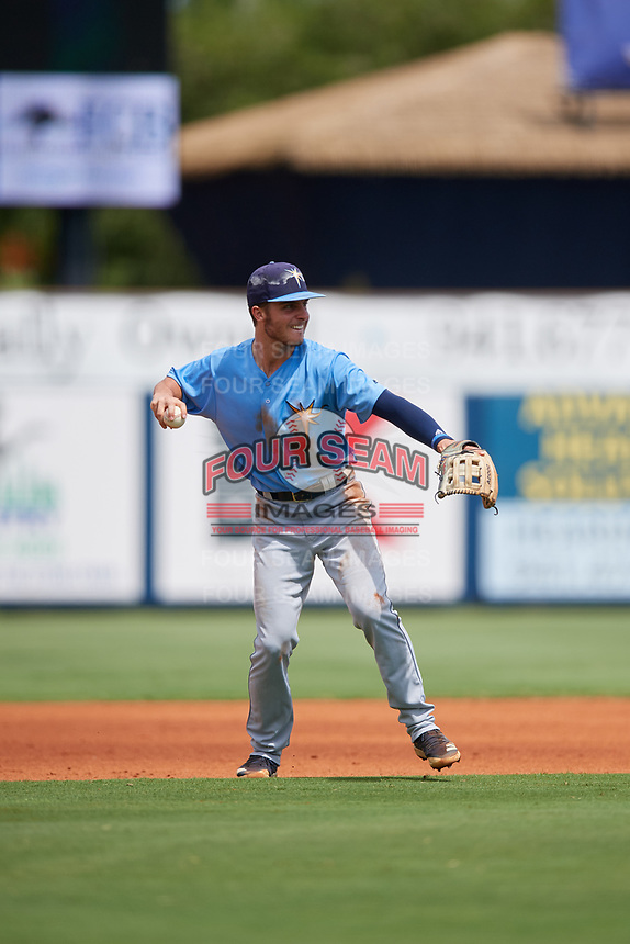 Tampa Bay Rays Tyler Frank (16) throws to first base during a Florida Instructional League game against the Baltimore Orioles on October 1, 2018 at the Charlotte Sports Park in Port Charlotte, Florida.  (Mike Janes/Four Seam Images)