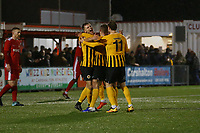 Jake Wright of Boston United scores the 4th goal and celebrates during Carshalton Athletic vs Boston United, Emirates FA Cup Football at the War Memorial Sports Ground on 9th November 2019