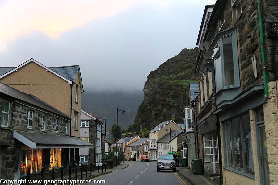 Wet overcast evening in  Blaenau Ffestiniog, Gwynedd, north Wales, UK