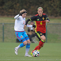 20161023 - TUBIZE , BELGIUM : Belgian Maud Coutereels (R) and Russian Elena Terekhova (L) pictured during a friendly game between the women teams of the Belgian Red Flames and Russia at complex Euro 2000 in Tubize , Sunday 23 October 2016 ,  PHOTO Dirk Vuylsteke | Sportpix.Be