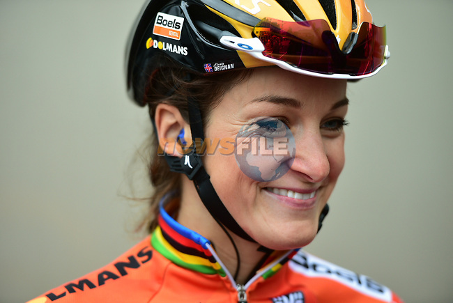Elizabeth Deignan (ENG) Boels Dolmans arrives at sign on before the start of the ASDA Women's Tour de Yorkshire 2017 running 122.5km from Tadcaster to Harrogate, England. 29th April 2017. <br /> Picture: ASO/P.Ballet | Cyclefile<br /> <br /> <br /> All photos usage must carry mandatory copyright credit (&copy; Cyclefile | ASO/P.Ballet)