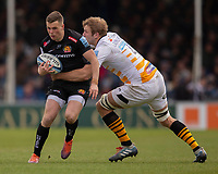 Exeter Chiefs' Joe Simmonds is tackled by Wasps' Joe Launchbury<br /> <br /> Photographer Bob Bradford/CameraSport<br /> <br /> Gallagher Premiership - Exeter Chiefs v Wasps - Sunday 14th April 2019 - Sandy Park - Exeter<br /> <br /> World Copyright © 2019 CameraSport. All rights reserved. 43 Linden Ave. Countesthorpe. Leicester. England. LE8 5PG - Tel: +44 (0) 116 277 4147 - admin@camerasport.com - www.camerasport.com