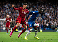 Fikayo Tomori of Chelsea and Roberto Firmino of Liverpool during the Premier League match between Chelsea and Liverpool at Stamford Bridge, London, England on 22 September 2019. Photo by Liam McAvoy / PRiME Media Images.
