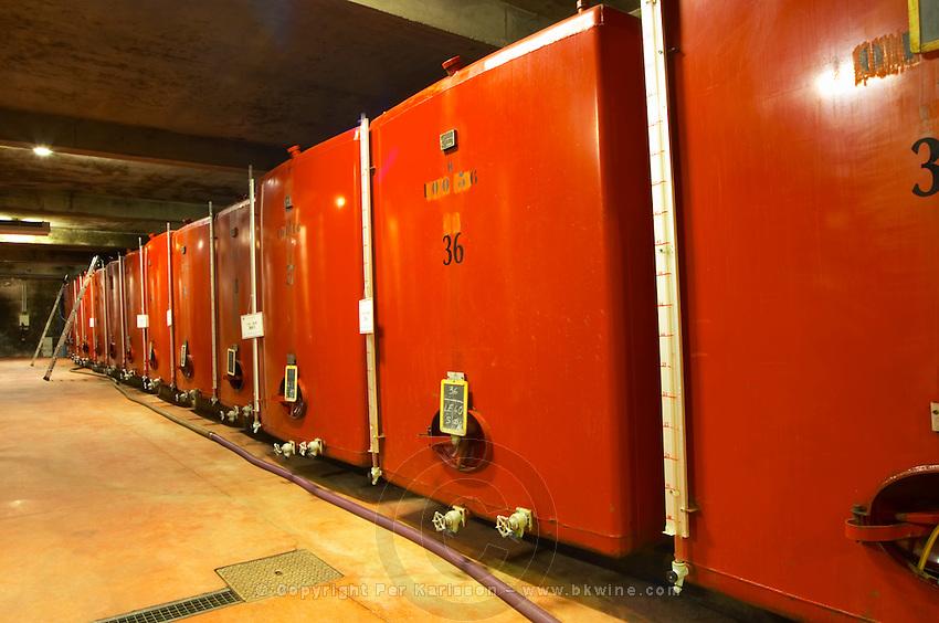 Painted steel fermentation vats Domaine M Chapoutier, Tain l'Hermitage, Drome Drôme, France Europe