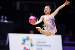 Ruriko Shibayama (JPN), <br /> AUGUST 27, 2018 - Gymnastics - Rhythmic : <br /> Individual All-Around Qualification Ball <br /> at JIEX Kemayoran Hall D <br /> during the 2018 Jakarta Palembang Asian Games <br /> in Jakarta, Indonesia. <br /> (Photo by Naoki Morita/AFLO SPORT)