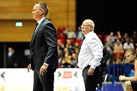 GRONINGEN - Basketbal, Donar - Vitautas, Champions League,  seizoen 2017-2018, 19-09-2017, Donar coach Erik Braal met assistent Meindert van Veen