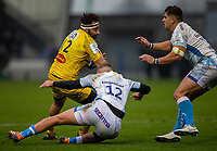 24th November 2019; AJ Bell Stadium, Salford, Lancashire, England; European Champions Cup Rugby, Sale Sharks versus La Rochelle; Jeremy Sinzelle of La Rochelle is tackled by Robert du Preez of Sale Sharks - Editorial Use