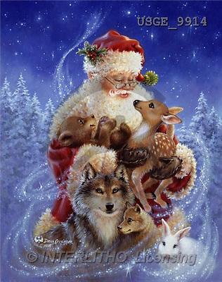 Dona Gelsinger, CHRISTMAS SANTA, SNOWMAN, classical, paintings, santa, wolf, animals(USGE9914,#X#) Weihnachtsmänner, Papá Noel, Weihnachten, Navidad, illustrations, pinturas klassisch, clásico