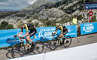 Damien Howson (AUS/Mitchelton-Scott) realing in Esteban Chavez (COL/Mitchelton-Scott) at the finish after climbing the extremely brutal Alto de los Machucos & after having suffered from a mechanical <br /> <br /> Stage 13: Bilbao to Los Machucos / Monumento Vaca Pasiega (166km)<br /> La Vuelta 2019<br /> <br /> ©kramon