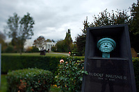 "Allerheiligen (All Saints) at Vienna's ""Zentralfriedhof"" (""Central Cemetary""), the city's biggest graveyard. Tomb of Rudolf Hausner, surrealist artist."