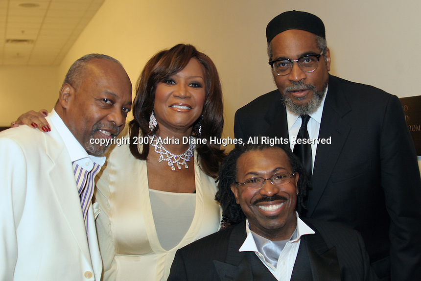 Leon Huff, Patti Labelle, Teddy Pendergrass and Kenny Gamble backstage at the 25TH Anniversary Celebration in Philadelphia, PA, Kimmel Center.