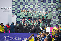 Greater London. United Kingdom, &ldquo;Champagne Moment&rdquo; Cambridge  Women's  BC celebrate winning the  University Boat Race against  Oxford University  Putney to Mortlake,  Championship Course, River Thames, London.  <br /> <br /> Saturday  24.03.18<br /> <br /> [Mandatory Credit:Peter SPURRIER/Intersport Images]