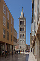 Zadar, Croatia. 25.05.2018. View of the bell tower of the cathedral of St Anastasia, from Kalelarga. Photograph © Jane Hobson.