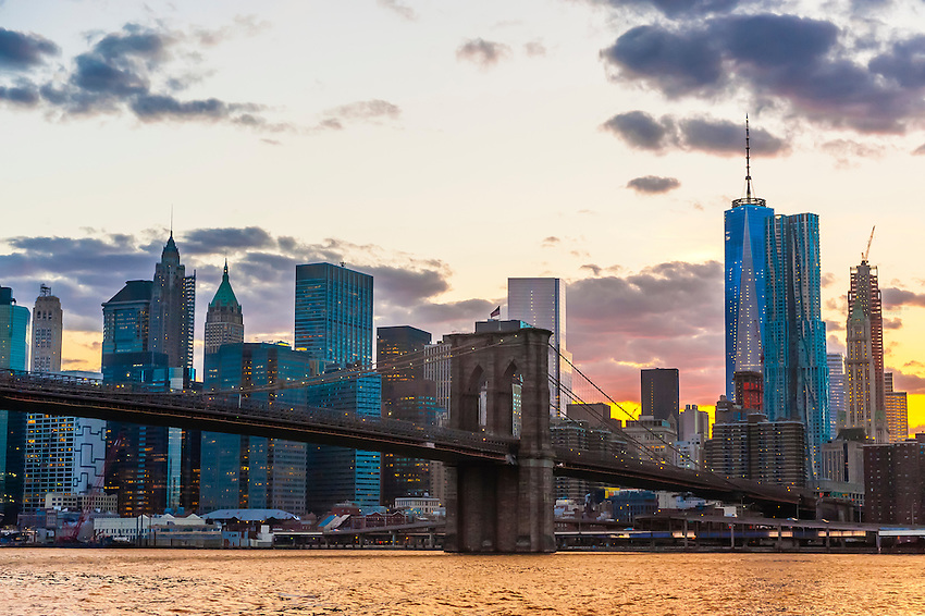 Brooklyn Bridge (Lower Manhattan in background), New York, New York USA.