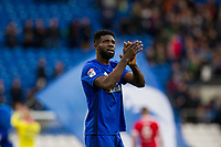 Bruno Manga of Cardiff City claps the fans at full time of the Sky Bet Championship match between Cardiff City and Middlesbrough at the Cardiff City Stadium, Cardiff, Wales on 17 February 2018. Photo by Mark Hawkins / PRiME Media Images.
