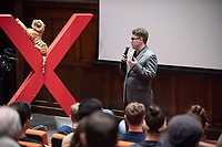 "Thomas Egan '18 talks about ""How do I Connect with my Friend? The reality of how mental illness can affect how we see people.""<br /> Occidental College hosts TEDxOccidentalCollege on April 21, 2018 in Choi Auditorium of Johnson Hall. Students, faculty, alums and guest speakers delivered their TEDx Talk on the theme, Shifting Ecosystems of Power.<br /> (Photo by Marc Campos, Occidental College Photographer)"
