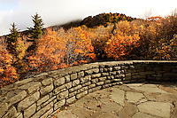 An overlook at Grandfather Mountain in Linville, NC, offer visitors a spectacular view of the autumn leaf colors. Each fall the North Carolina mountain forests (Blue Ridge Parkway) transform themselves a tapestry of brilliant oranges, reds and yellows. In autumn 2009, the tree-lined Blue Ridge Mountains were a popular spot for travelers, tourists and visitors seeking beautiful vistas of fall leaf foliage.
