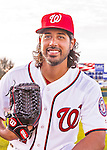 28 February 2016: Washington Nationals starting pitcher Gio Gonzalez poses for his Spring Training Photo-Day portrait at Space Coast Stadium in Viera, Florida. Mandatory Credit: Ed Wolfstein Photo *** RAW (NEF) Image File Available ***