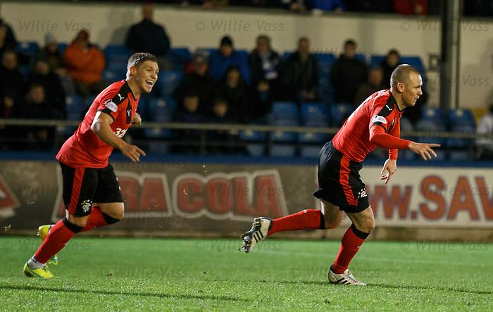 Kenny Miller runs away to celebrate after scoring
