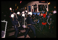 "Youth from the ""Blitz-house"", an occupied house, protest and clash with police. Oslo, Norway, probably 1988"